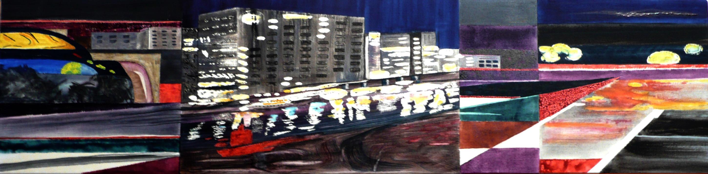 <i> La ville d'Arlequin</i><br />aquarelle sur toile, 2015, 34 x 137 cm<br />