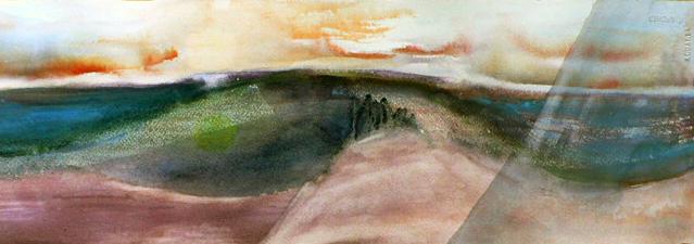 <i>À l'aube du septième jour</i><br />aquarelle sur papier Arches, 2011, 19 x 56 cm <br />collection privée