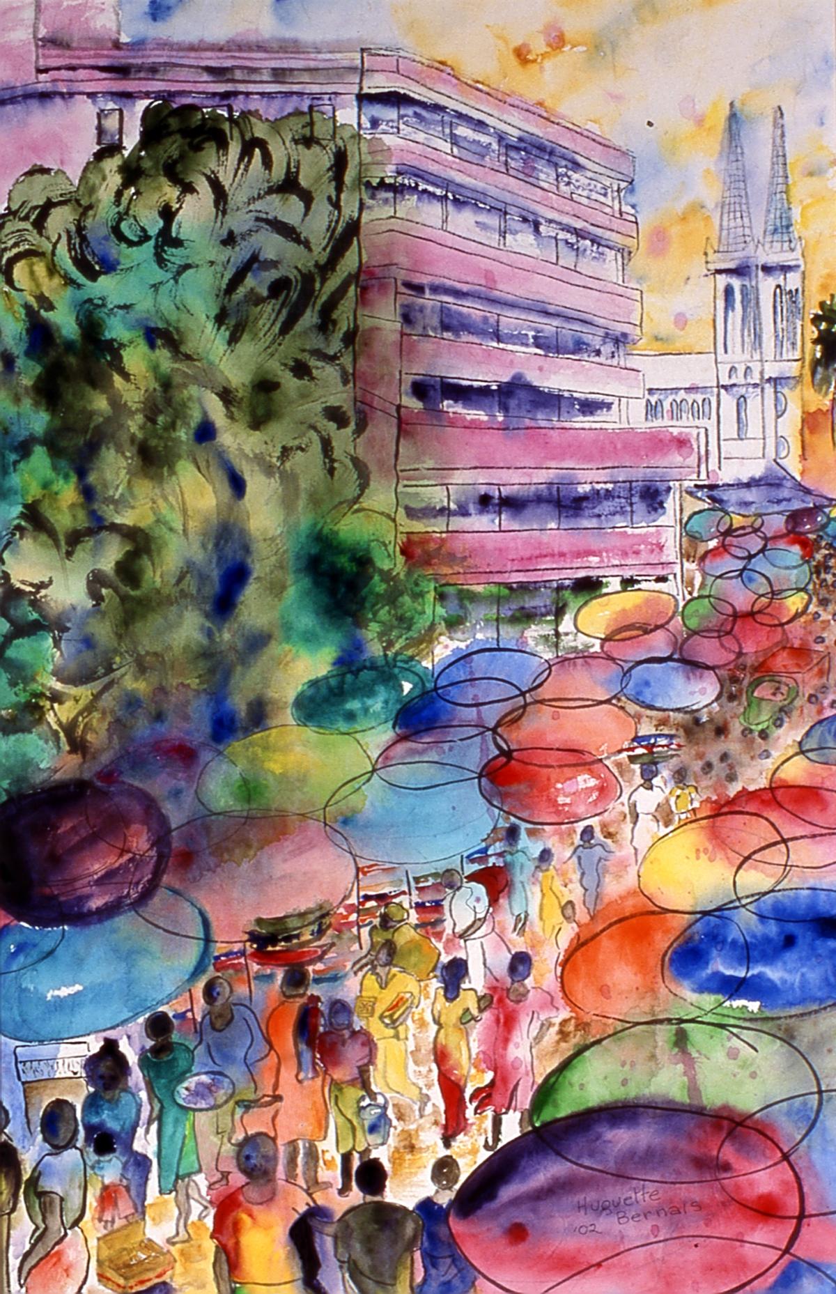 <i>Marché public, Lomé, Togo</i><br />détail du triptyque, aquarelle et encre sur papier asiatique, 2002, 72 x 46 cm <br /> collection privée
