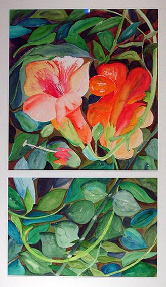 <i>Bignones</i><br />aquarelle sur papier Arches, 2003, 99 x 56 cm <br />collection privée