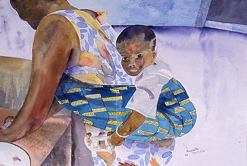 <i>Confiance d'enfant</i><br />aquarelle sur papier Arches, 2002, 42 x 57 cm <br /> collection privée