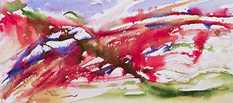 <i>Hantise</i><br />aquarelle sur papier Arches, 2009, 25 x 56 cm <br />