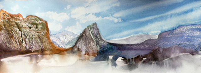 <i>La vallée de l'inconnu</i><br />aquarelle sur papier Arches, 2011, 19 x 56 cm <br />collection privée