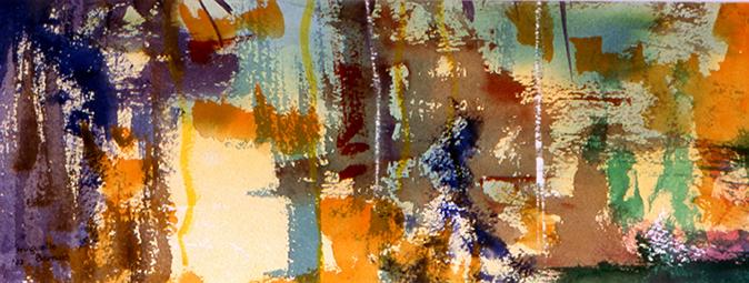 <i>Chassé-croisé</i><br />aquarelle sur papier Arches, 2001, 10 x 38 cm – collection privée