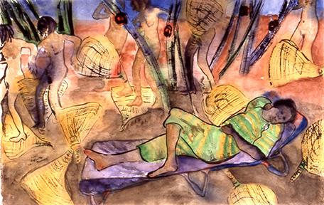 <i>La fraîcheur du manguier</i><br />aquarelle sur papier Arches, 2002, 46 x 72 cm <br /> collection privée