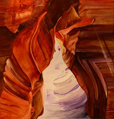 <i>Dans l'Atacama </i><br />aquarelle sur papier Arches,  2010, 56 x 56 cm<br />collection privée