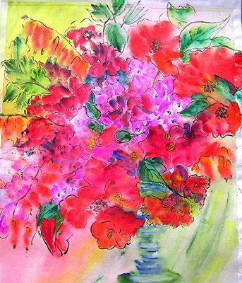 <i>Passion sauvage</i><br />aquarelle et gel medium sur papier asiatique marouflé sur toile, 2004, 106 x 81 cm – collection privée
