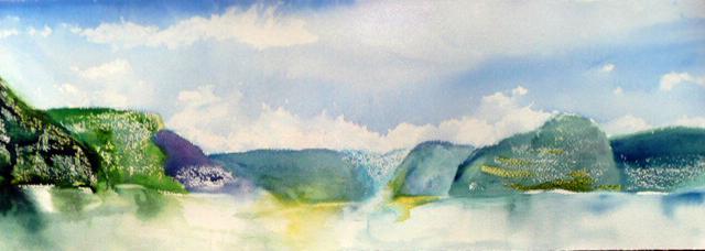 <i> L'euphorie des voyeurs</i><br />aquarelle sur papier Arches, 2011, 19 x 56 cm <br />collection privée