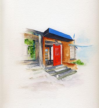 <i>La maison du bedeau</i> <br /> aquarelle sur papier Arches, 2016,  28,5 x 22,5 cm<br />collection privée