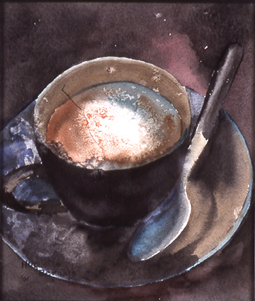 <i> Pause-café</i><br />aquarelle sur papier Arches, 2001, 26,5 x 23 cm <br />collection privée