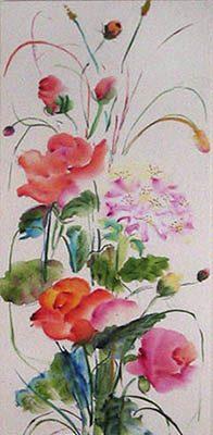 <i> L'espace d'un matin</i><br />aquarelle sur papier asiatique, 2003, 137 x 33 cm <br />collection privée