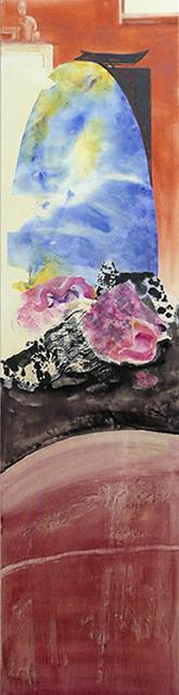 <i>L'angoisse du haut-fonctionnaire </i><br />aquarelle et collage sur toile, 2013,  137 x 34 cm