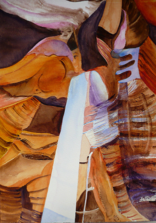 <i>Le grand Gobi </i><br />aquarelle sur papier Arches, 2010, 28 x 38 cm<br />collection privée