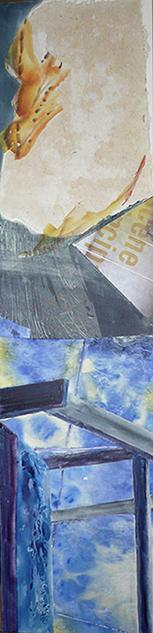 <i>Ça s'peut pas des affaires de même </i><br />aquarelle et collage sur toile, 2013,  137 x 34 cm <br /> collection privée