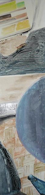 <i>Alerte sur terre</i><br />aquarelle et collage sur toile, 2013,  137 x 34 cm <br />collection privée