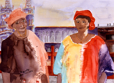 <i>Élégance africaine</i><br />aquarelle sur papier Arches, 2002, 28 x 37 cm <br /> collection privée