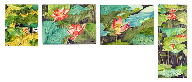 <i>Lotus</i><br />quadriptyque, aquarelle et vernis sur papier Arches, 2003, 56 x 231 cm <br />collection privée