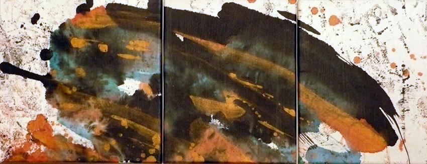 <i>Inertie</i><br />triptyque, aquarelle et gel medium sur papier Arches marouflé sur toile, 2009, 26 x 67 cm <br />collection privée