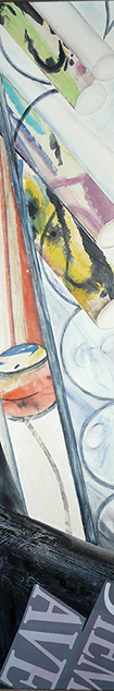 <i>Bientôt de retour</i><br />aquarelle et collage sur toile, 2013,  137 x 34 cm