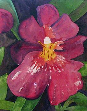 <i> Orchidée-pensée</i><br />aquarelle sur papier Arches, 2001, 48 x 37 cm <br />collection privée