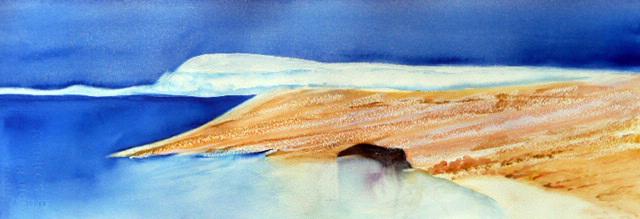 <i>La pointe aux loups</i><br />aquarelle sur papier Arches, 2011, 19 x 56 cm <br />collection privée