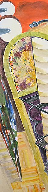 <i>Souvenir d'une vie </i><br />aquarelle et collage sur toile, 2013,  137 x 34 cm
