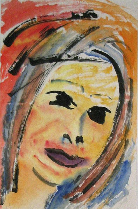 <i>La jeune fille</i><br />aquarelle et encre sur papier asiatique, 2003, 68 x 45 cm – collection privée