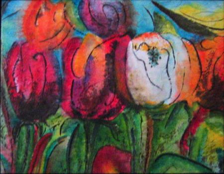 <i>Les coquines</i><br />aquarelle et gel medium sur papier asiatique marouflé sur toile, 2004, 40 x 51 cm <br />collection privée