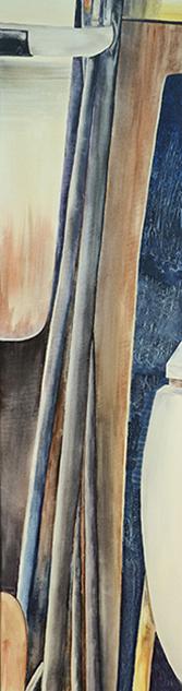 <i>Vers un nouveau départ</i><br />aquarelle et collage sur toile, 2013,  137 x 34 cm <br />collection privée