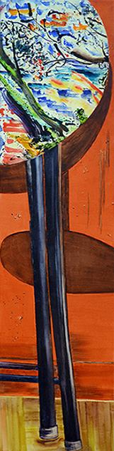 <i>Fabriqué à Shangaï </i><br />aquarelle et collage sur toile, 2013,  137 x 34 cm