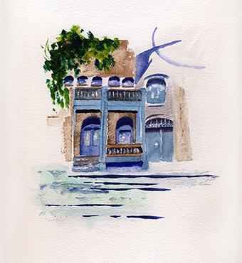 À l'ombre du clocher</i> <br /> aquarelle sur papier Arches, 2016,  28,5 x 22,5 cm <br />collection privée