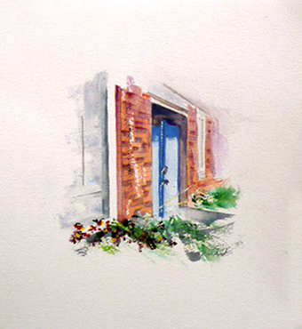 <i>Derrière la manufacture</i> <br /> aquarelle sur papier Arches, 2016,  28,5 x 22,5 cm