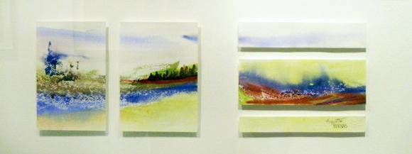 <i>Jeux d'eau</i><br />aquarelle sur papier Arches, 2011, 19 x 56 cm – collection privée