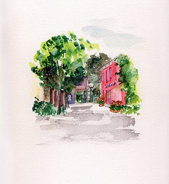 <i>La ruelle Sainte-Rose</i> <br /> aquarelle sur papier Arches, 2016,  28,5 x 22,5 cm<br />collection privée