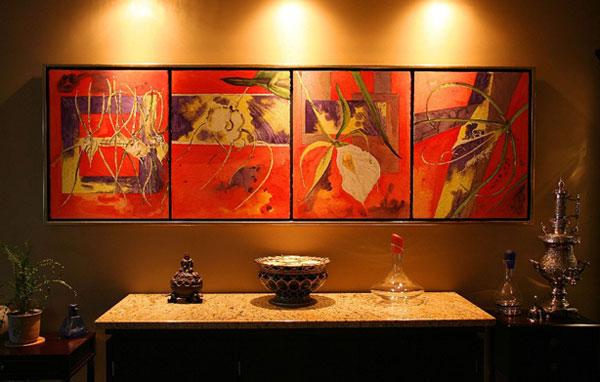 <i>Poésie</i><br />quadriptique, aquarelle et vernis sur papier Arches, 1998, 66 x 207 cm – collection privée