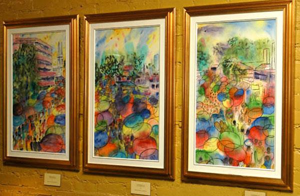 <i>Marché public, Lomé, Togo</i><br />triptyque, aquarelle et encre sur papier asiatique, 2002, 3(72 x 46 cm) <br /> collection privée