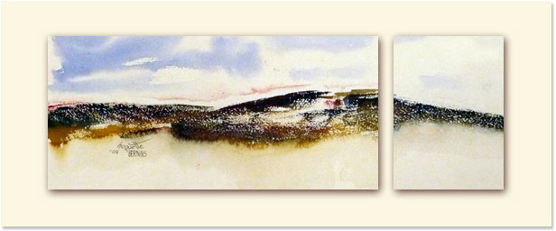 <i>Froidure</i><br />aquarelle sur papier Arches, 2011, 19 x 56 cm <br /> collection privée