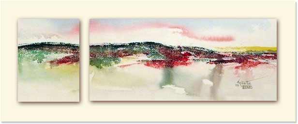 <i>Petit matin</i><br />aquarelle sur papier Arches, 2011, 19 x 56 cm <br />collection privée