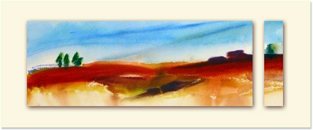 <i>Terre rouge</i><br />aquarelle sur papier Arches, 2011, 19 x 56 cm <br />collection privée