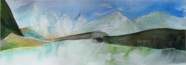<i>La blancheur des mystères</i><br />aquarelle sur papier Arches, 2011, 19 x 56 cm <br />collection privée